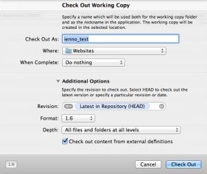 Daten für das auschecken einer Working Copy