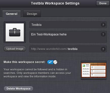 Workspace-Einstellungen