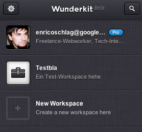 Workspaces in Wunderkit