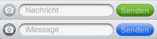 Oben: SMS, unten: iMessage