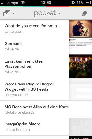 Interface der iPhone-App