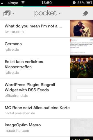 Interface der iPhone-App