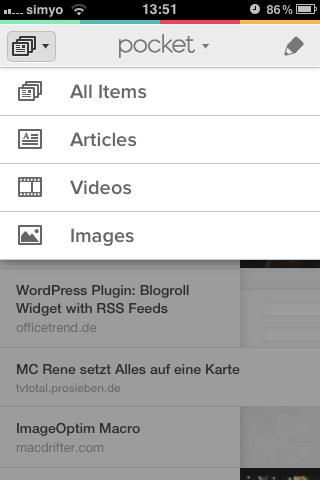 Filter der Linktypen