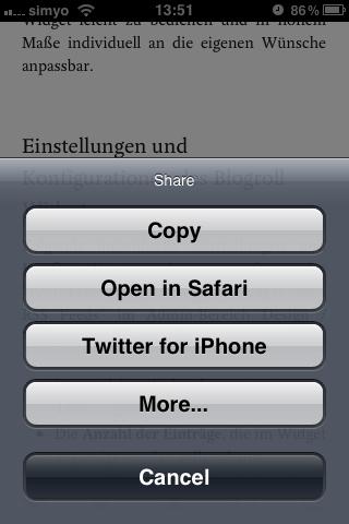 Item-Optionen inkl. Sharing