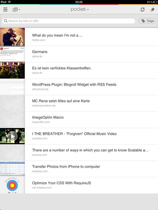 Interface auf dem iPad
