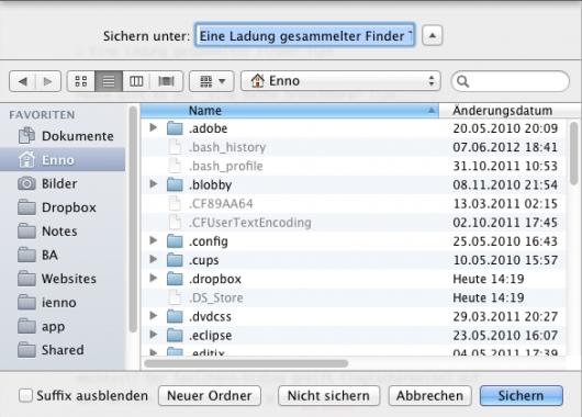 Anzeige versteckter Dateien im Speicher-Dialog