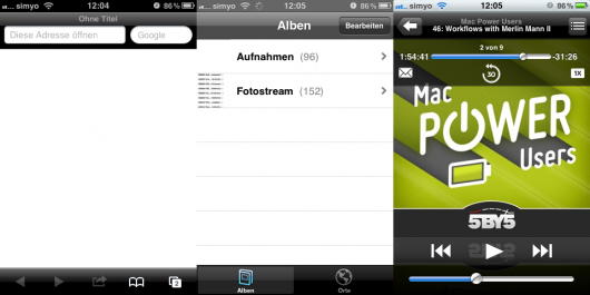 iOS in schwarz: Safari links, Fotos in der Mitte und iPod rechts