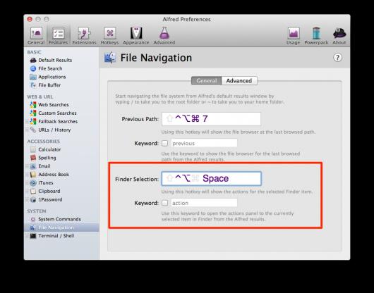 Shortcut für File Buffern der Finder-Auswahl