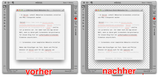 Vorher: weißer Hintergrund, nachher: transparenter Hintergrund
