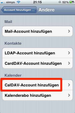 CalDav-Account hinzufügen