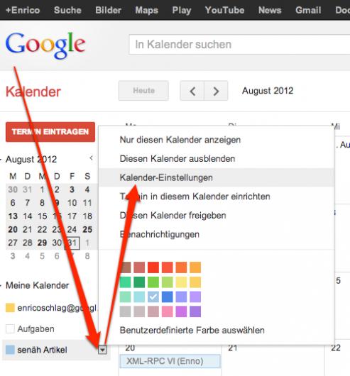 Google Kalender Einstellungen aufrufen
