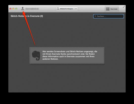 Das Icon der Begierde zum Entkoppeln des Evernote-Accounts