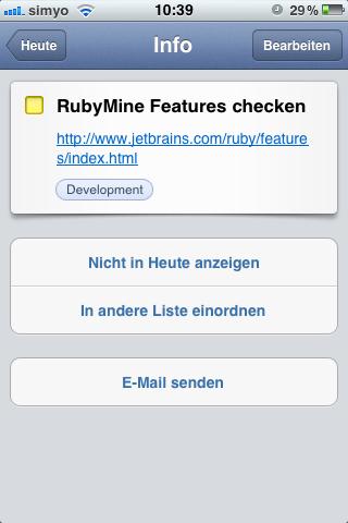 Aufgabendetails (iOS)