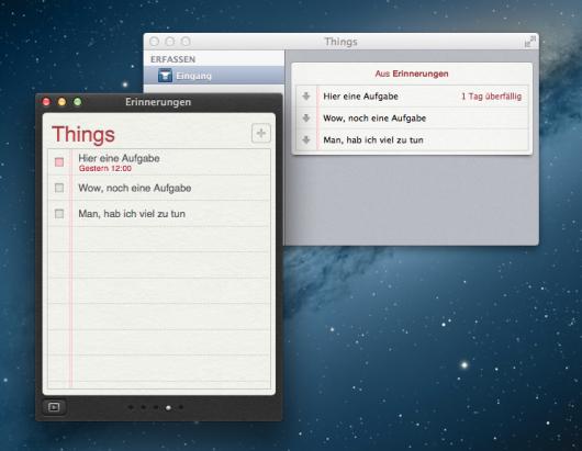 Synchronisation von Things und Apples Reminders bzw. Erinnerungen