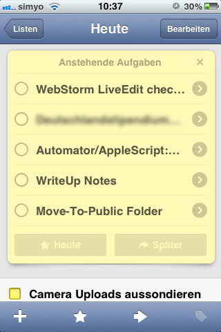 Review List in der iPhone-App