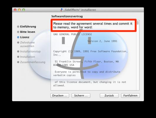 Wichtiger Hinweis beim Anzeigen des Softwarelizenzvertrages ;)