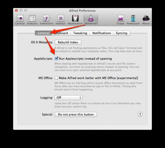 Option zum Ausführen von AppleScripts, statt sie zu öffnen