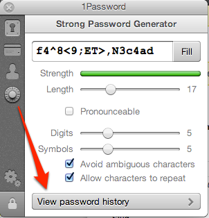 Password History in der Chrome-Extension