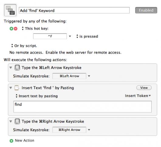 Keyboard Maestro Makro für das Voranstellen des Keywords find