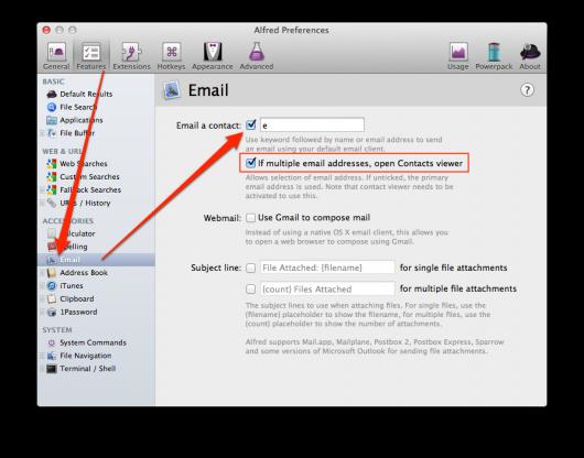 E-Mails über Alfred öffnen aktivieren
