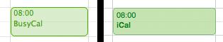 iCal hebt Event-Titel hervor und hat kräftigere Farben