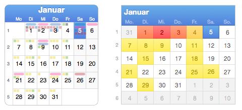1 Monat in der Jahresansicht: links BusyCal, rechts iCal