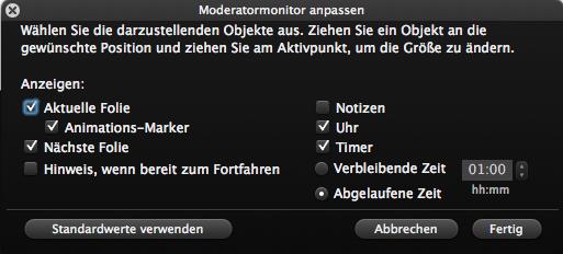 Moderatormonitor anpassen