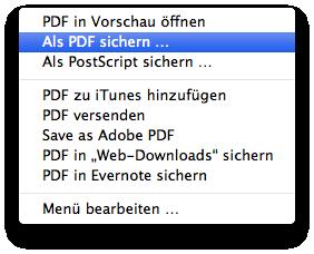 PDF-Optionen im OS X eigenen Drucken-Dialog II