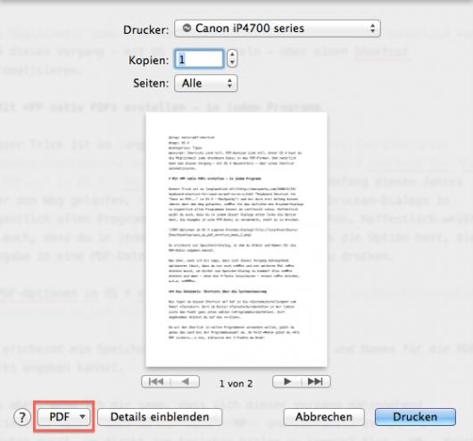 PDF-Optionen im OS X eigenen Drucken-Dialog I