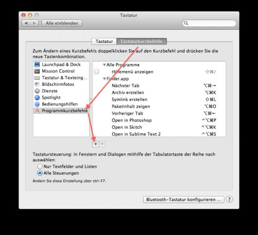 Shortcut in den Tastatur-Systemeinstellungen hinzufügen