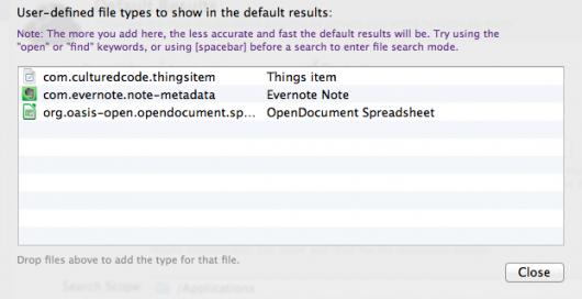 Zusätzliche Dateitypen in den Alfred Default Results