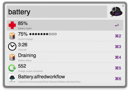 Anzeige des Battery-Workflows