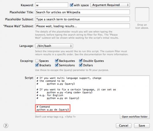 de hardcoden für den ausschließlichen Zugriff auf die deutsche Wikipedia