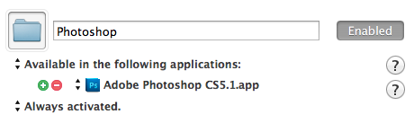 Erstellen einer Gruppe für Photoshop-Shortcuts