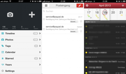 Apps mit modernem Design: DayOne, Gmail, Fantastical