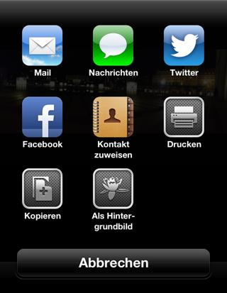 Sharing-Menü der Fotos-App seit iOS 6