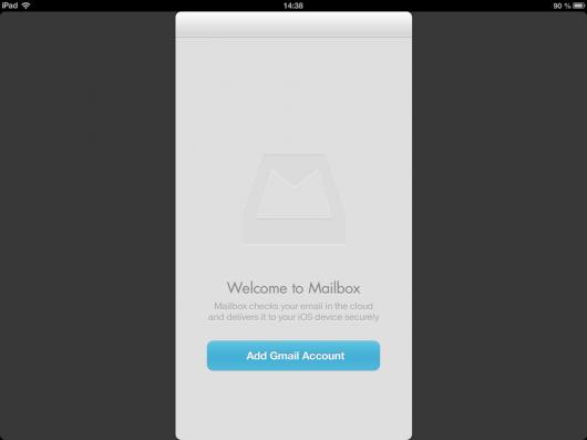Bildschirm nach dem ersten Starten der App
