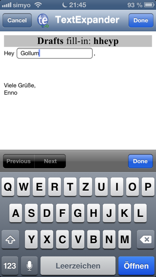 2. Fill-In in TextExpander Touch nach Gusto bearbeiten