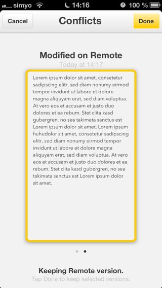 Konfliktauflösung in der iPhone-App