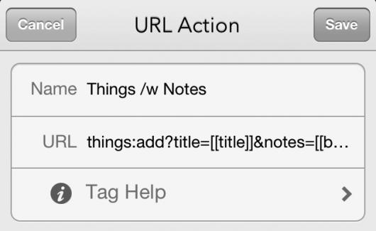 Erstellen einer Custom URL Action