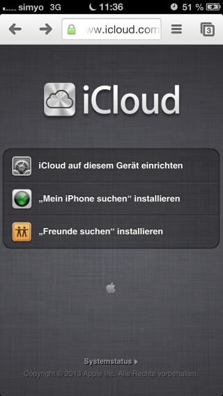 icloud.com auf dem iPhone