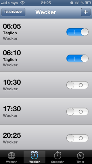 Mein Wecker mit self-made 5-Minuten-Snooze