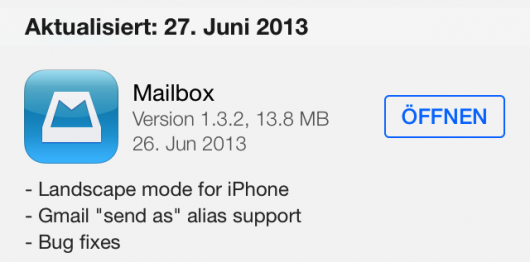 Changelog im AppStore (unter iOS7 übrigens)