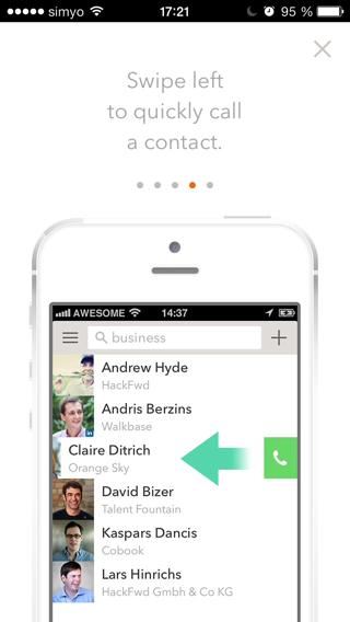 Anrufen eines Kontakts durch Swipe-Geste