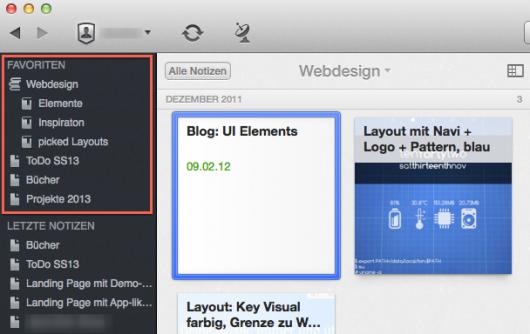 Oben links: Favoriten in der Mac-Variante von Evernote