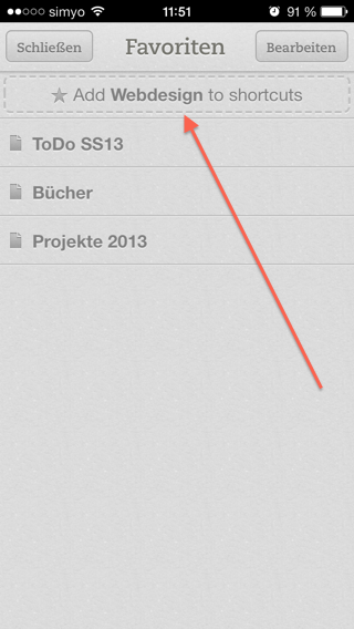 Das Notizbuch Webdesign als Shortcut anlegen