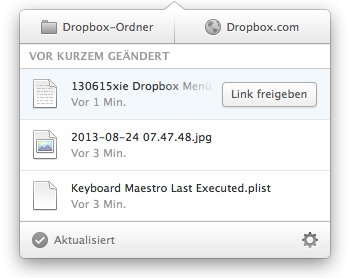 Neues Dropbox Menü