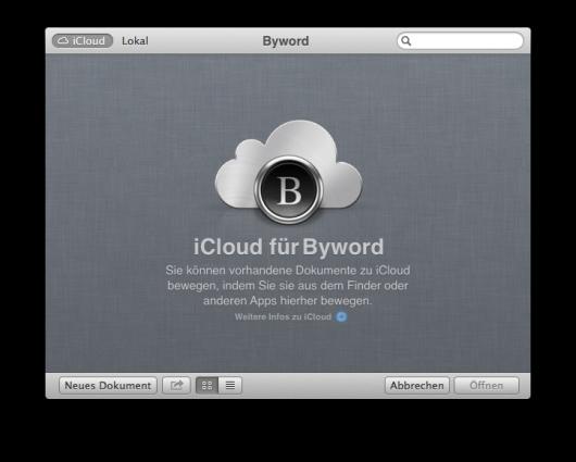 iCloud Dialog beim Öffnen Byword