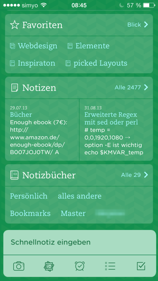 Startscreen in Evernote