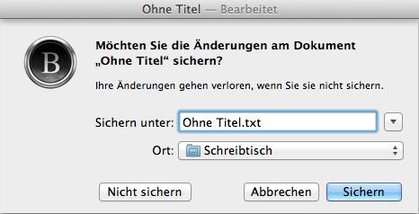 Speichern-Dialog in Byword